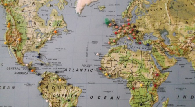 This map has a tack inserted for every country Marion Costello has visited.