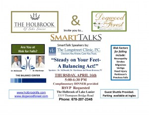 Balance Fall Prevention Dinner and Program April 16th at The Holbrook- SmartTalk Series (2)